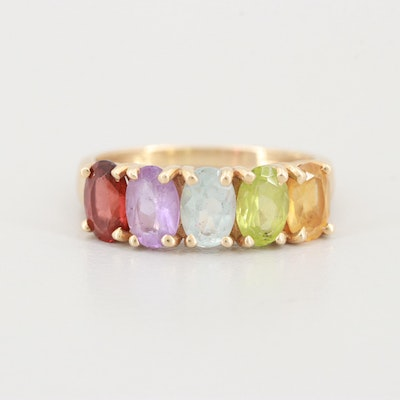 14K Yellow Gold Amethyst, Citrine, Garnet, Blue Topaz and Peridot Ring
