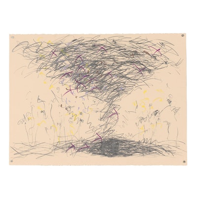 Merle Rosen Abstract Graphite and Pastel Drawing