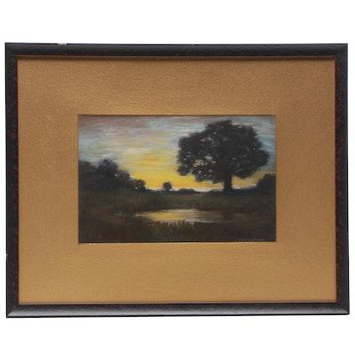 T.K. Pembroke Pastel Drawing of Landscape at Sunset