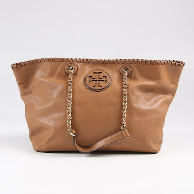 Tory Burch Grained Leather Shoulder Bag in Camel Brown