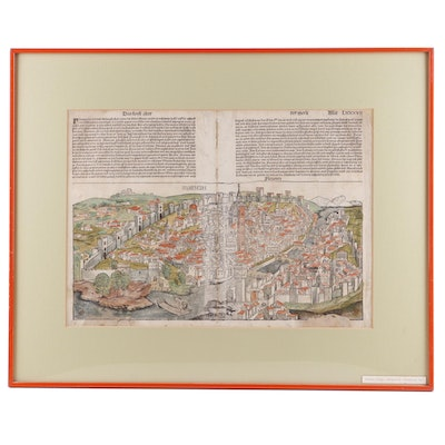 """Bifolium with Large Hand Colored Map of Florence from 1493 """"Nuremberg Chronicle"""""""