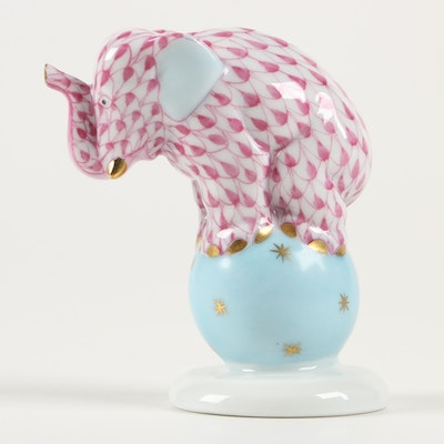 "Herend Raspberry Fishnet ""Elephant on Ball"" Porcelain Figurine, June 1999"