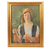 Portrait Oil Painting of Young Woman with Scarf