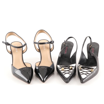 Coach Black Leather Ankle Strap High Heels and Escada Calfskin Slingbacks