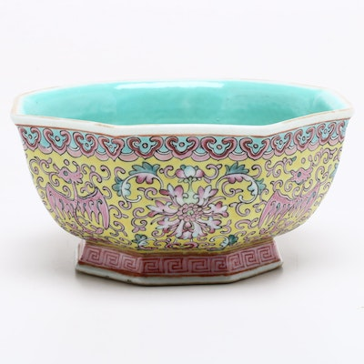 Chinese Ceramic Hexagonal Bowl, Late Qing Dynasty