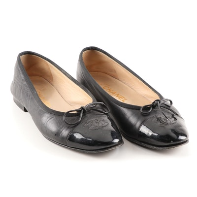 Chanel CC Black Calfskin and Patent Leather Cap Toe Ballet Flats