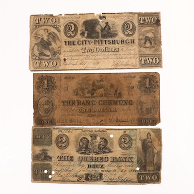 Three Different Obsolete Currency Notes, Circa 1850