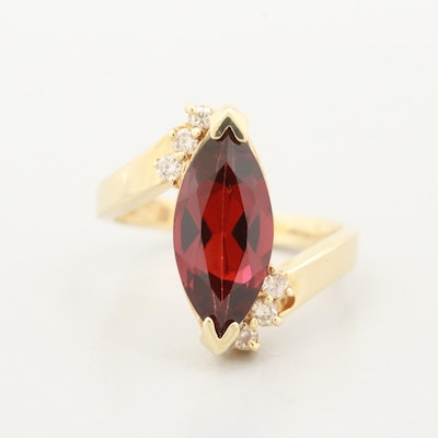 14K Yellow Gold Garnet and Diamond Bypass Ring