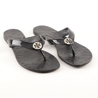 Tory Burch Black Patent Leather Thong Sandals
