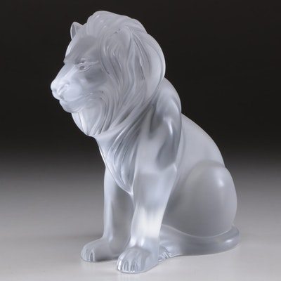 """Lalique """"Bamara"""" Clear Frosted Crystal Lion Sculpture"""