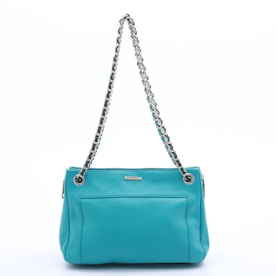 Rebecca Minkoff Turquoise Leather Shoulder Bag with Leather and Chain Strap