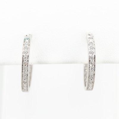 14K White Gold Diamond Inside Out Hoop Earrings
