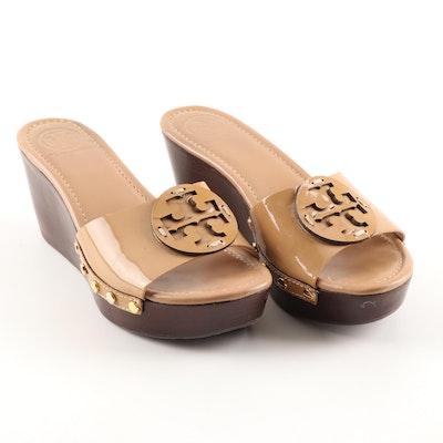 Tory Burch Camel Patent Leather Platform Wedge Slide Sandals