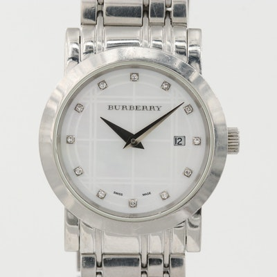 Burberry Heritage Stainless Steel Diamond Quartz Wristwatch With M.O.P. Dial