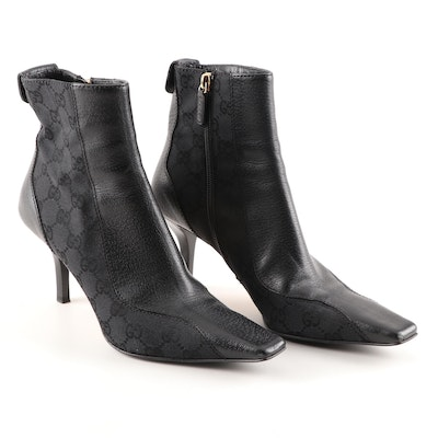 Gucci Signature Black Canvas and Leather Square Toe Booties