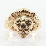 10K Yellow Gold Diamond Lion Head Ring