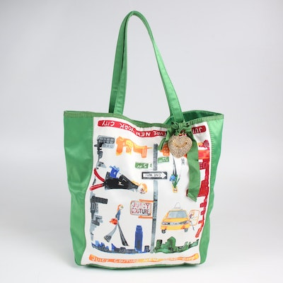 Juicy Couture New York City Multicolor Graphic and Green Shopper Tote