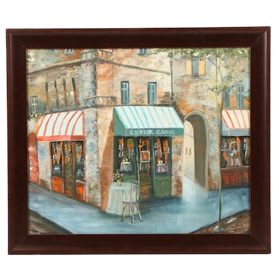 Oil Painting of European Street Scene with Cafe