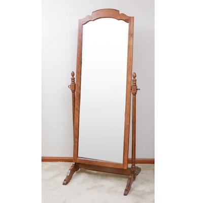 Ethan Allen Oak Framed Cheval Mirror, Late 20th Century