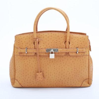 Ostrich Leather Top Handle Handbag