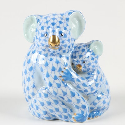 "Herend Blue Fishnet with Gold ""Koala with Baby"" Porcelain Figurine"