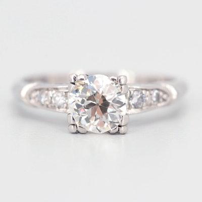 Platinum Diamond Ring with 1.10 CT Old Mine Cut Diamond