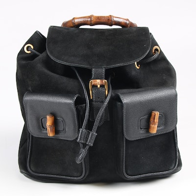 Gucci Black Suede and Leather Backpack with Bamboo Handle and Clasp