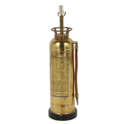 Converted SodAcid Fyr-Fyter Fire Extinguisher Table Lamp, Mid-Century