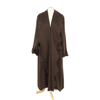 Neiman Marcus Bisang Loro Piana & C. Brown Cashmere Coat with Scalloped Lapels