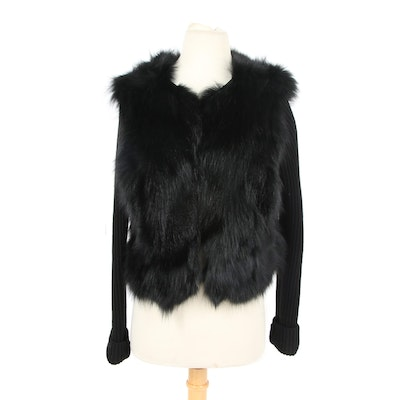 Beatrice .b Black Fox Fur and Cable Knit Sweater