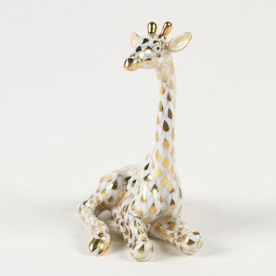 "Herend Guild Gold Fishnet ""Sitting Giraffe"" Porcelain Figurine, May 1999"