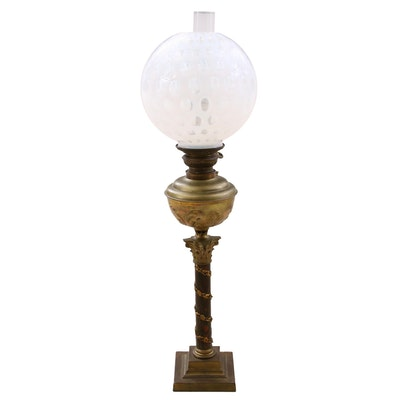 Converted Oil Lamp Table Lamp with Opalescent Thumbprint Glass Shade
