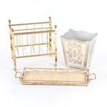 Gold Tone Shepherd Magazine Rack with Vanity Tray and Waste Basket
