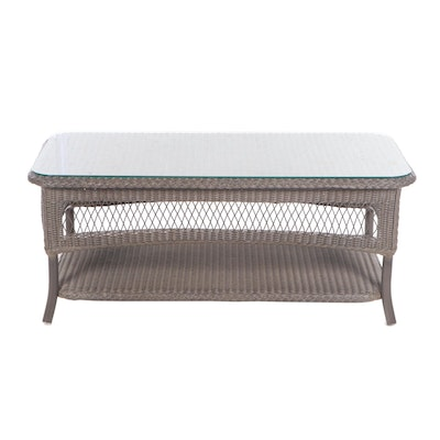 Lloyd Loom Faux Wicker Patio Coffee Table, Contemporary
