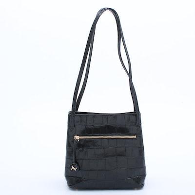 Monsac Croc Embossed BLack Leather Shoulder Bag
