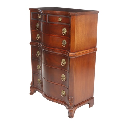 Drexel, George III Style Mahogany Serpentine-Front Tall Chest