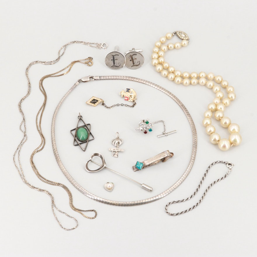 Sterling Silver Glass, Enamel and Imitation Pearl Jewelry Assortment