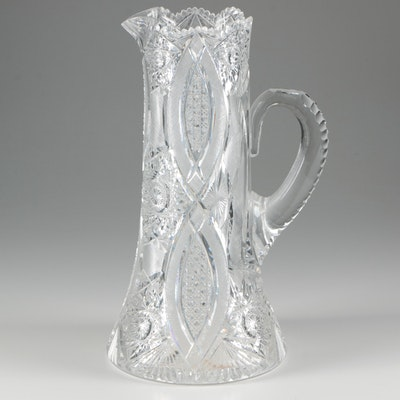 American Brilliant Cut Glass Pitcher, Late 19th/Early 20th Century