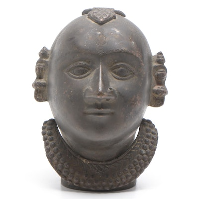 Indian Bronze Gauri Head Sculpture, Early 20th Century