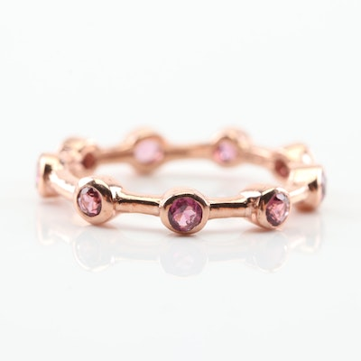 Sterling Silver Garnet Ring with Rose Gold Wash