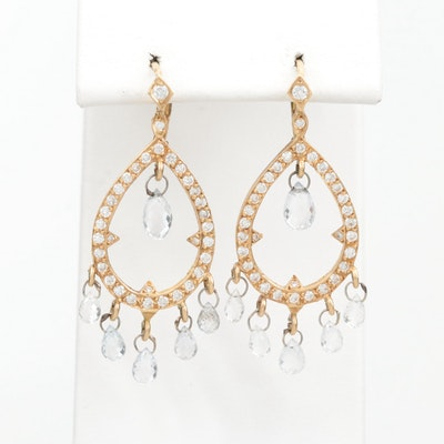 18K Yellow Gold White Sapphire and Diamond Drop Earrings