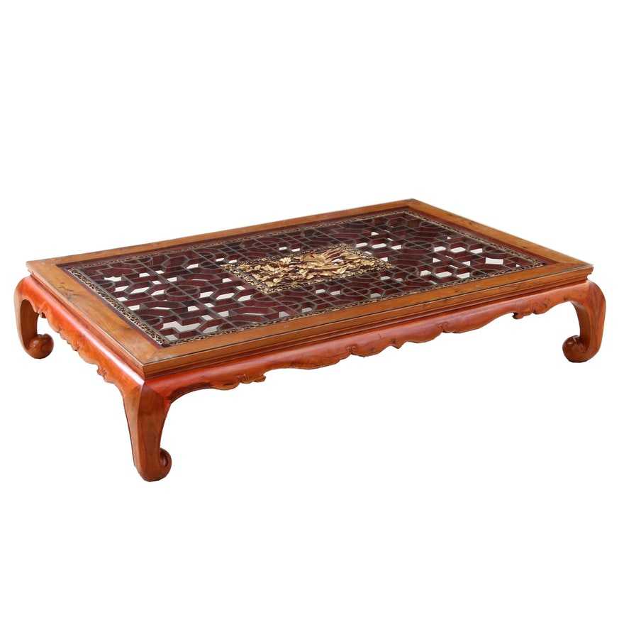 Fretwork Coffee Table.Large Custom Chinese Rosewood Coffee Table With Fretwork Panel Mid 20th Century