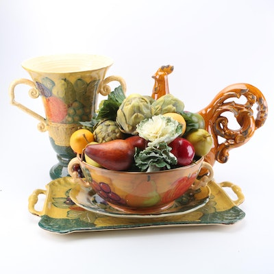 Ceramic Trays and Vases including Artificial Fruit Decor