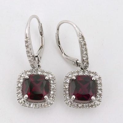 14K White Gold Garnet and White Sapphire Dangle Earrings