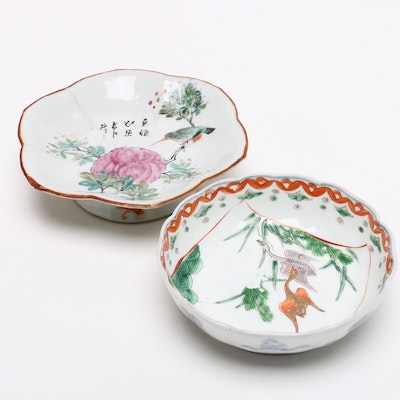 Chinese Hand Painted Porcelain Footed Bowls, Republic Period