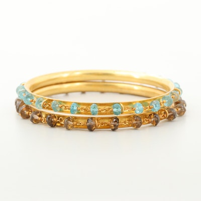 Gold Wash on Sterling Silver Smoky Quartz and Apatite Bangles