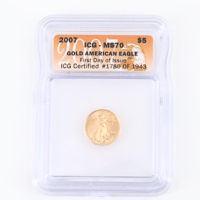 ICG Graded MS70 2007 Five Dollar Gold Eagle 1/10 oz. Bullion Coin