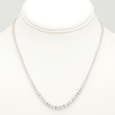 14K White Gold 10.23 CTW Graduated Diamond Necklace