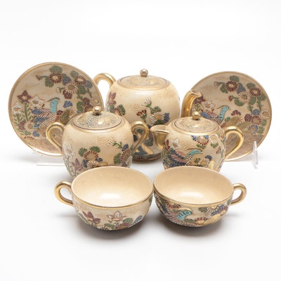 Japanese Hand Painted Earthenware Tea Set with Moriage Details