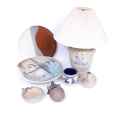 Thrown Stoneware Vessels and Table Lamp Including Gabriel Sweden